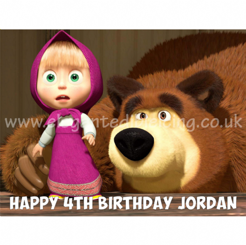 MASHA AND BEAR PERSONALISED  BIRTHDAY CAKE TOPPER A4 EDIBLE CAKE DECORATION
